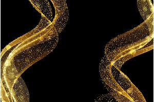 Abstract shiny color gold wave