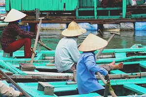 People sitting on a boats, Vietnam