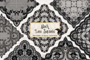 Black Lace Squares Overlays