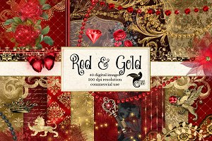 Red and Gold Digital Scrapbook Kit