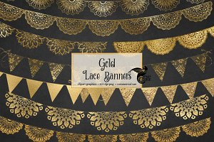 Gold Lace Banners Clipart