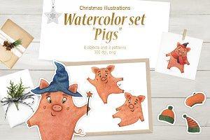 """Watercolor set """"Pigs"""""""