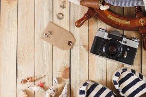 Camera, espadrilles and maritime dec