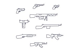 Guns hand drawn vector set