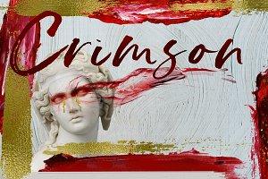 Crimson n Gold Acrylic Brush strokes