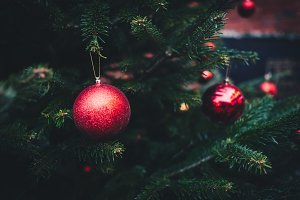 Red balls on Christmas tree