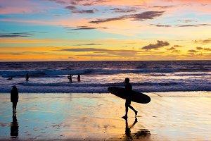 People surfer silhouette beach Bali