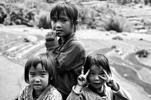 Three little Vietnamese girls