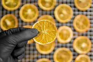 Candied orange slices on grid for