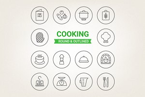 Circle cooking icons
