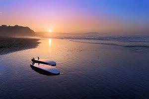 Sopelana beach with surfboards