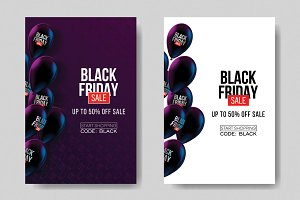 Black Friday Sale posters. Balloons