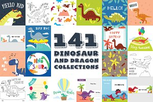 141 DINOSAURS & DRAGON CLIPART