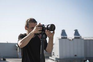 Professional videographer using