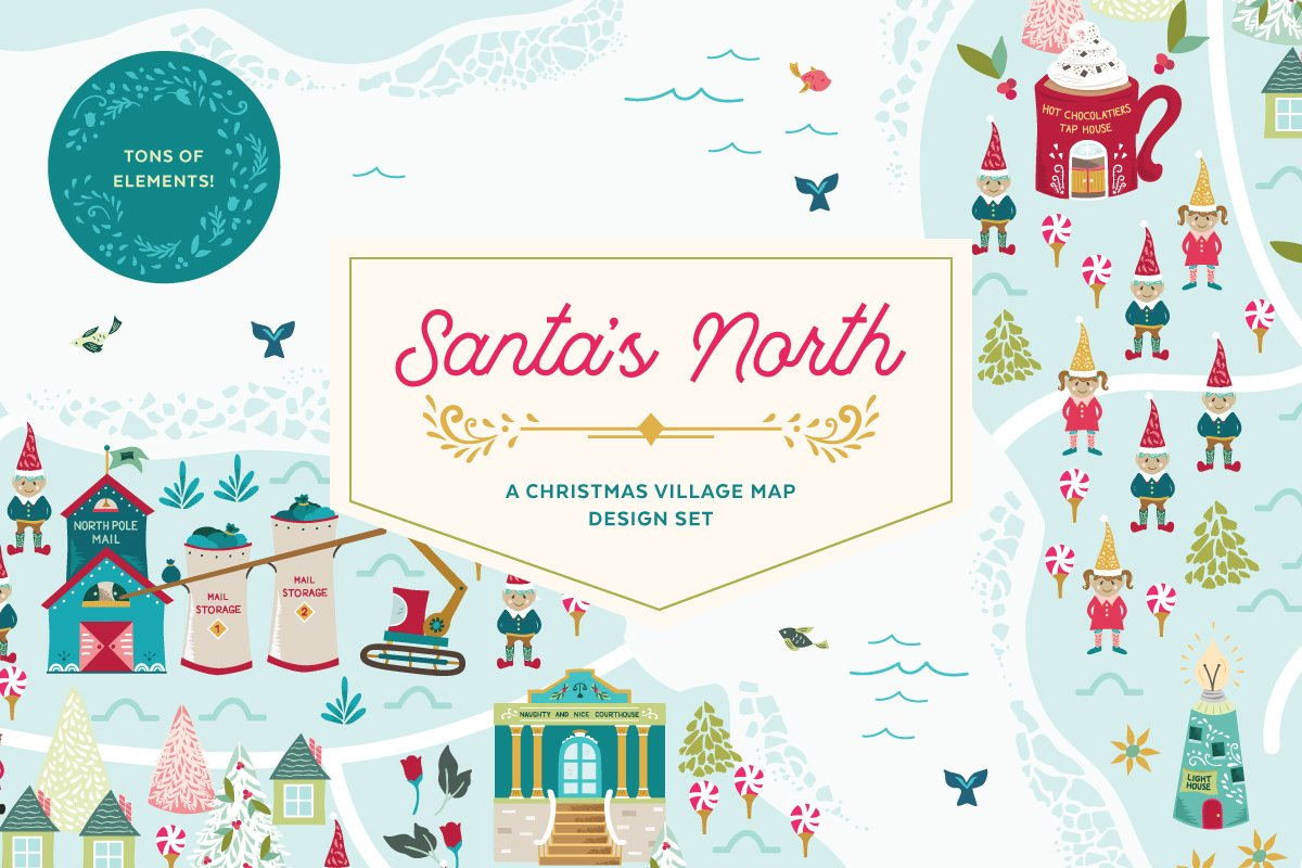 Santa\'s North Christmas Village ~ Illustrations ~ Creative Market