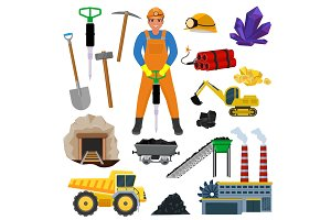 Miner vector mine worker builder