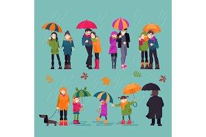 People in rain vector man woman