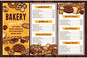 Bread, pastry and bakery vector menu