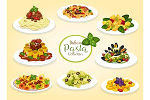 Italian cuisine pasta dishes, vector