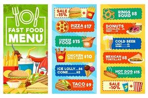 Fast food snacks and drinks menu