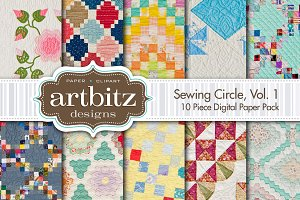 Sewing Circle V1 Quilt Digital Paper
