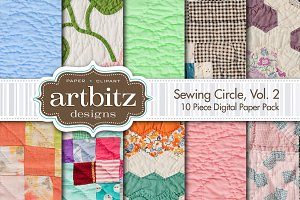 Sewing Circle V2 Quilt Digital Paper