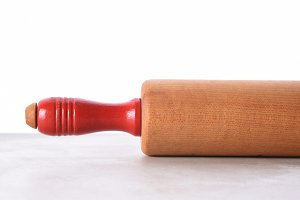 Closeup of a rolling pin on a kitche