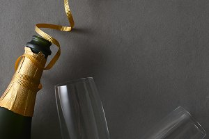 Champagne bottle with colorful ribbo
