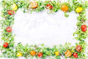Sprouted baby greens & tomato frame