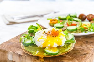 Healthy burger with avocado and egg