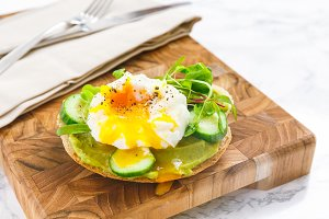 Burger with avocado and egg