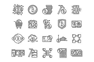 Cryptocurrency, bitcoin mining icons