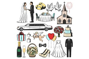 Wedding icons of marriage gift