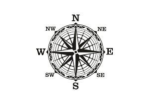 Compass wind rose, vintage nautical