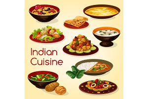 Indian cuisine, rice, meat dishes