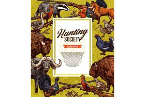 Wild animals and birds. Hunting