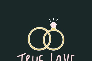 True love typography with rings