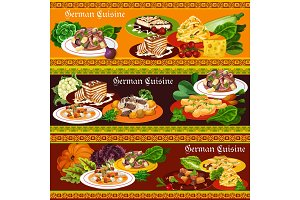 German meat dishes, salads, desserts
