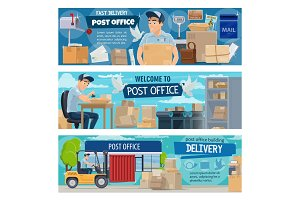 Postal delivery, office and postman
