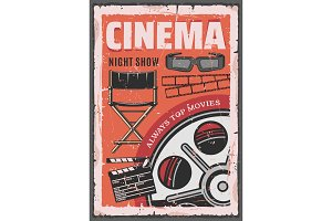 Cinema movie, film reel, 3d glasses