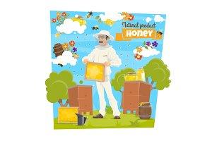 Honey, bee and beekeeper on apiary
