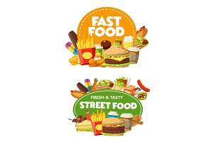 Fast food burgers, snacks and drinks