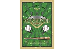 Baseball field with balls and bat