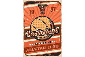 Basketball sport game ball, basket