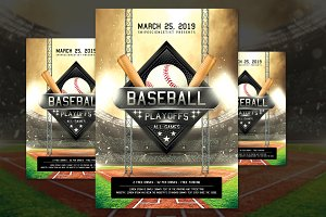 Baseball Game Flyer Template PSD