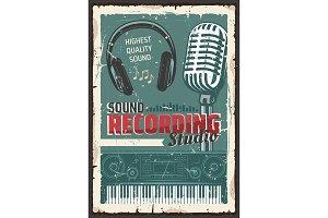 Music record studio, microphone