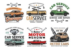 Vintage cars and tools, icons