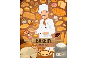Bread, pastries and baker