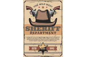 Wild west sheriff gun, cowboy hat