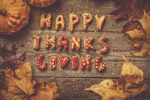 Thanksgiving concept - text with